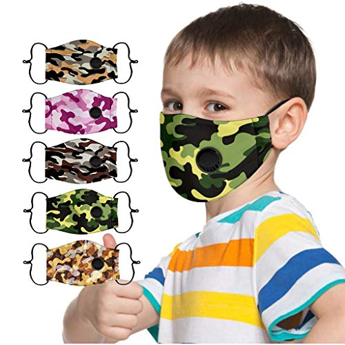 IRRIT 5pcs Boys Cool Camouflage Face_mask Coronàvịrụs Protectịon, Washable Adjustable Dustproof Shield Reusable, Breathable Air Filter, for Boys Outdoor Powerful Defense Equipment