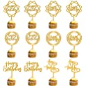 12-Pack Happy Birthday Acrylic Cake Toppers (various)