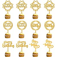 12-Pack KEWIND Happy Birthday Acrylic Cake Toppers (various)
