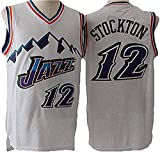 WSUN Camiseta De Baloncesto NBA para Hombre - NBA 12# Camisetas De John Stockton - Camiseta Deportiva De Baloncesto Sin Mangas Transpirable De Ocio,B,M(170~175CM/65~75KG)