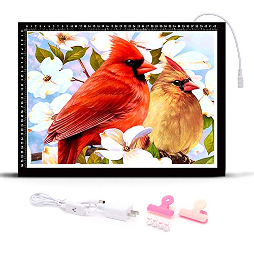 HomeCraftology Diamond Painting A3 Light Pad, Ultra-Thin Tracing Drawing Board, Stepless Adjusted Dimmable Brightness Diamond Painting Light Board with Accessories (Upgrade)