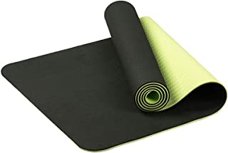 Nishore 6mm TPE Thick Exercise Yoga Mat Non-slip Yoga Mat for All Types of Workout Exercise and Fitness Dark Green 183 * 6...