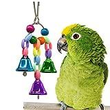 Ruiqas Papagei vogelkäfig hängen schaukel Spielzeug, pet Kunststoff + Legierung Material Windspiel Glocke Spielzeug (zufällige Farbe) (Size : S)