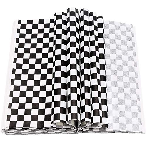 ZYQXB 200 Pieces of Oil-Resistant Sandwich Paper Liners, Picnic Party (Color : White Black)