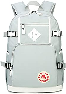 School Backpack Leisure Oxford Cloth Backpack College Wind Female School Bag QDDSP (Color : Gray)