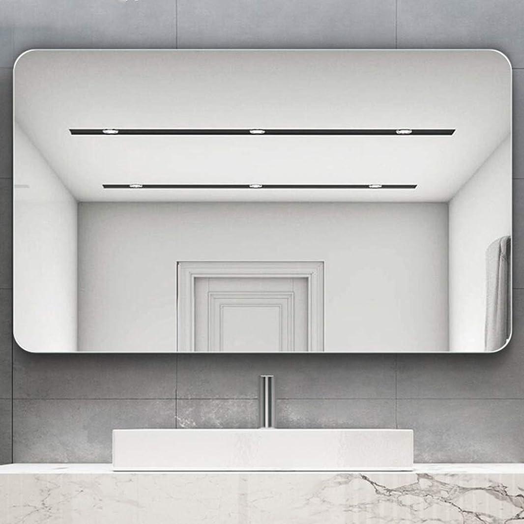 アトラスプログラム推測壁に取り付けられたライト付きのバニティミラー、四角形の丸いコーナー、壁に取り付けられた化粧鏡の安全性、高解像度のシルバーミラー、フレームレス、水平および垂直に吊るすことができます