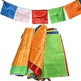 BUYGOO 2 PCS Cadenas de Banderas budistas de oración de 7M Banderines Tibetano Budista (35.5 x 35.5cm) Decoración de Exterior