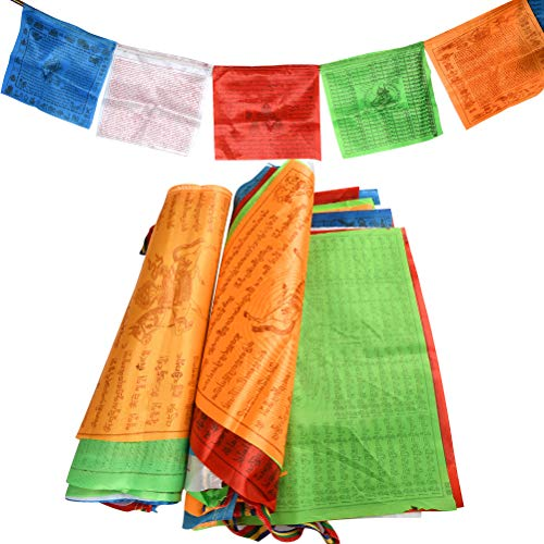 BUYGOO 40PCS Gebetsfahnen Tibetische Gebetsflaggen - 2Rolle Tibetische Buddhistische Gebetsfahnen Prayer Flags aus Polyesterfaser, Jede Rolle 7m lang 20 Flaggen Einzelfahne: 34 x 34cm