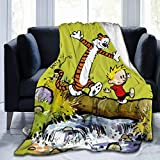 Culora Blanket 3D Print Calvin and Hobbes Flannel Throw Blanket Anime Print Ultra-Soft Micro Fleece Blanket for Couch Bed Sofa Warm Throw Blanket for Kids Room 80'X60'