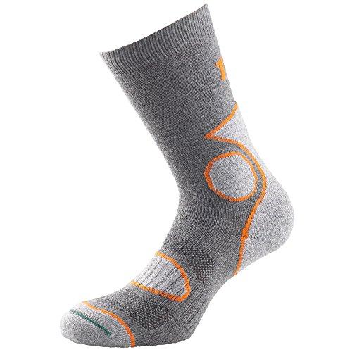 1000 Mile Coolmax Lot de 2 paires de chaussettes de randonnée respirantes pour homme Gris/orange Taille L 43-45