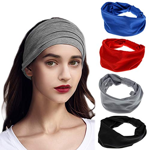 4Pcs Cintas Pelo Mujer Anchas Diademas Yoga Turbantes Mujer Elásticas Pañuelos Pelo Cabeza Mujer Bandas para el Cabello para Yoga Deporte Fitness Lavar Tu Cara (azul, rojo, negro, gris)