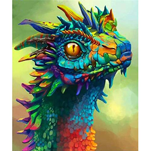 MXJSUA DIY 5D Diamond Painting Full Square Drill Kits Rhinestone Picture Art Craft for Home Wall Decor 30x40cm Dragon