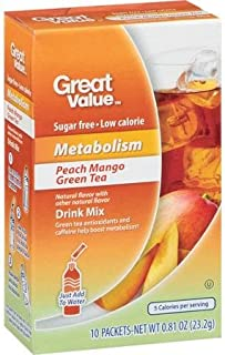 Great Value Metabolism Peach Mango Green Tea Drink Mix, 10ct (Pack of 4)