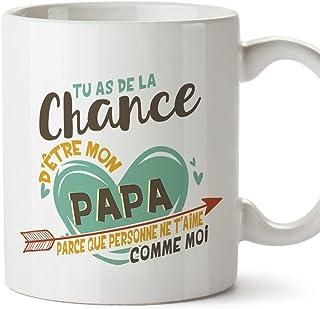 Mugffins Papa Tasse/Mug - Tu as de la Chance d'être Mon Papa - Tasse Originale/Idee Fête des Pères/Cadeau Anniversaire/Fut...