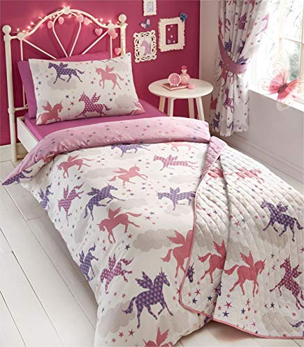 Kidz Club Divine Unicorn Duvet Quilt Cover and Pillowcase Bed Set for Girls, Reversible Design-Pink/White, Polyester-Cotton, Single