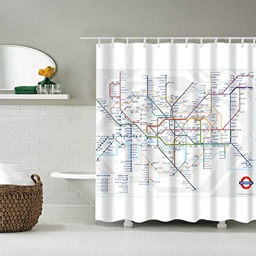 zijianZZJ Duschvorhang-Set mit London-U-Bahn-Karte, wasserdicht, 12 Haken, 180 cm, für Badezimmer