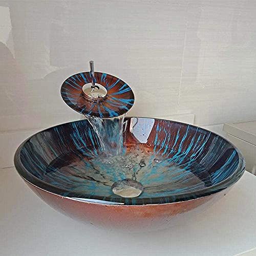 Fregaderos de lavabo Tazón de encimera Tazón Templado Lavabo Baño Cuenca de vidrio Recipiente de vidrio Fregadero con grifo de cascada (Color : 7#)