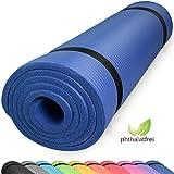 diMio Komfort-Gymnastikmatte Yogamatte in 185x60x1cm, 185x60x1.5cm, 185x90x1.5cm, 200x100x2 mit Tragegurt Phtalatfrei + SGS-geprüft (Dunkelblau, 185 x 90 x 1.5 cm (XL))