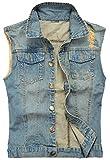 CAMO COLL Men's Sleeveless Lapel Denim Vest Jacket (M, I-Blue)