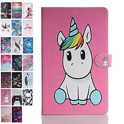 ANCASE Fundas duras para Tablets Universal 10 Pulgadas con Tapa Libro Case Cover Carcasa de Cuero para Modelo Samsung Huawei Apple Lenovo Tablet 9.6 9.7 10.1 10 Inch, Unicornio Rosa