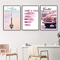 キャンバスウォールアートポスター絵画プリントポスターとプリント北欧モダンピンクスパイア車の写真リビングルームの家の装飾-(50X70cm)X3フレームなし