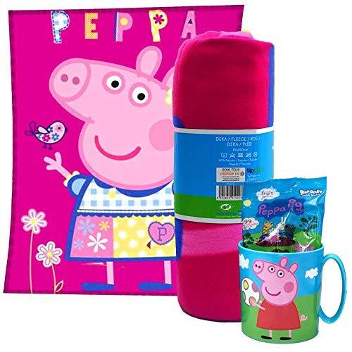 JuniorToys Peppa Pig Geschenkset mit Kuscheldecke Tasse und Fruchtgummi Peppa Wutz