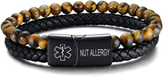 VNOX Custom Engraving Medical Alert ID Two-Strand Braided Leather Cuff Wristband Rope Bracelet with Magnetic Clasp for Men Boys