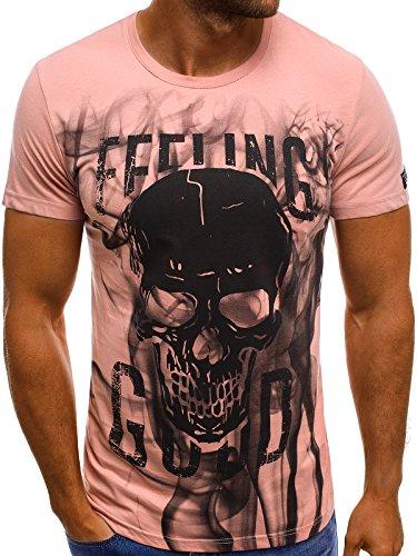 OZONEE Herren T-Shirt T Shirt Tshirt Kurzarm Kurzarmshirt Tee Top Sport Sportswear Rundhals U-Neck Rundhalsausschnitt Aufdruck Motiv Print MECH/2074T ROSA L