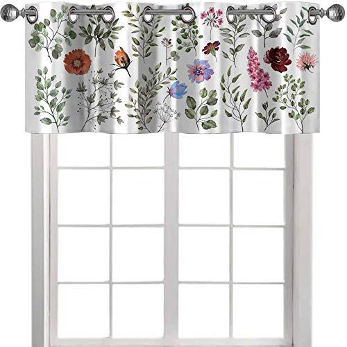 YUAZHOQI - Cenefa para decoración de acuarela, colección botánica de plantas silvestres y de jardín, diseño de hojas y flores, color rosa branc de 137 x 45 cm para sala de estar