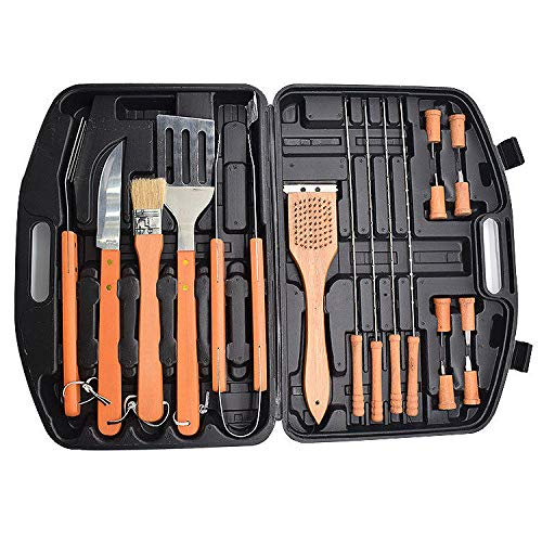 18 PCS Conjunto de barbacoa de acero inoxidable con caja de almacenamiento BARBACOA Kit de suplemento de la herramienta de la parrilla para la activación de utensilios de cocina Actividad al aire libr