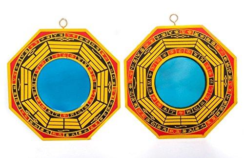 DMtse - Set di 2 specchi di protezione Bagua; uno specchio concavo per protezione contro l'energia negativa passiva e uno specchio convesso per protezione contro le energie nocive attive, 10 cm