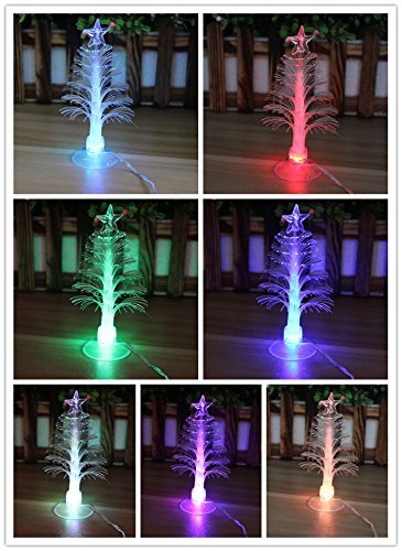 TINNZTES USB Powered 7 Colors Changing Fiber Optic Christmas Tree with a Star on Top