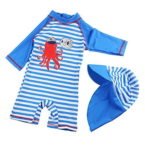 Baby - Einteiler Kurzarm Badeanzug für Säugling Kinder mit Haifisch Druck und Streifen UV-Schutz 50+