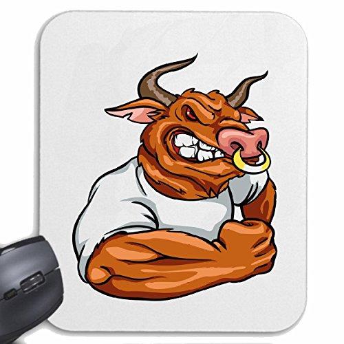 Mousepad (Mauspad) STIER BULLE IM MUSKELSHIRT BODYBUILDING GYM KRAFTTRAINING FITNESSSTUDIO MUSKELAUFBAU NAHRUNGSERGÄNZUNG GEWICHTHEBEN BODYBUILDER für ihren Laptop, Notebook oder Internet P