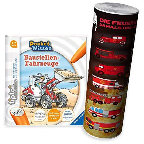 Ravensburger tiptoi® livre 4–7 ans – Pocket Savons – Véhicules de Chantier + Poster camion de pompier enfant – Pocket Savons, Tip Toi