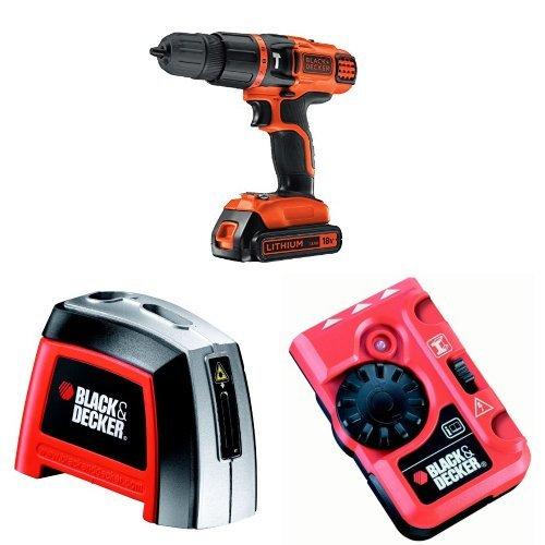 Black + Decker 18V Lithium Ion 2 Gear Hammer Drill with Manual Laser Level and Pipe and Live Wire Detector Bundle