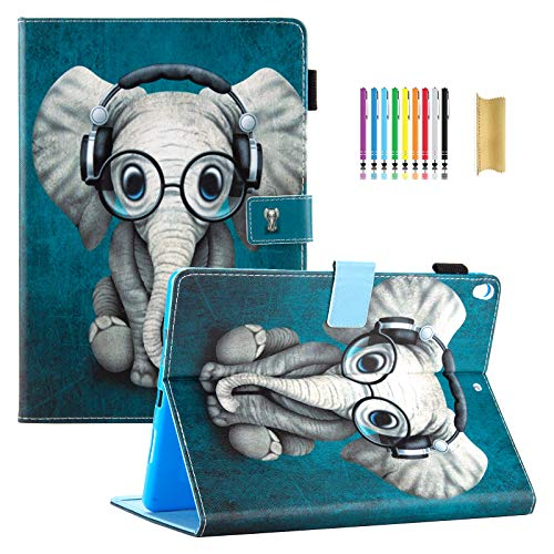 Dteck iPad Air 3rd Generation Case 2019, iPad Pro 10.5' Case,Slim Fit Premium Leather Folio Multi Angle Stand Auto Sleep Wake Protective Wallet Case Cover for Apple iPad Air 3,Pro 10.5,Music Elephant