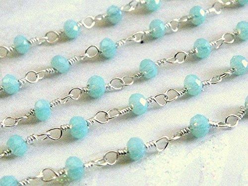 World Wide Gems Cadena de rosario de piedras preciosas de piedras preciosas de agua calceny, cadena de plata de ley 925, cuentas envueltas en alambre de 3 mm, código-HIGH-70211