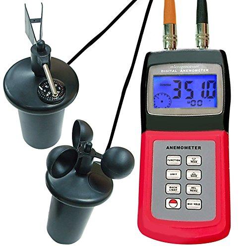 Digital-Multifunktions-Thermo-Anemometer mit 3-Cup-Typ-Sensor, tragbare Windgeschwindigkeit Luftstrommesser, Wetter Windgeschwindigkeit Richtung Tester Meter