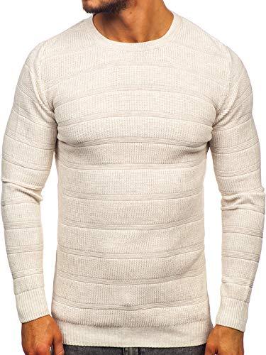 BOLF Herren Pullover Rundhalsausschnitt Strickpullover Pulli Basic Einfarbig Casual Style Madmext 4357 Beige L [5E5]