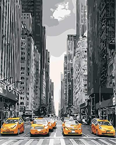 DIY Digital Leinwand Ölgemälde Gelbes Taxi Malen nach Zahlen Wandkunst Bild Leinwand Gemälde für Wohnkultur Artwork 40X50cm Kein Rahmen