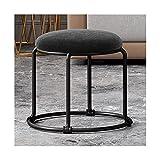 WAZG SYBLD Taburete de salón para el hogar, muebles tapizados, taburete de oficina, reposapiés dorado y plateado (color negro1)