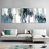 Cuadro abstracto gris dorado sobre lienzo carteles e impresiones moderno pared arte cuadro dormitorio decoración del hogar 40x120cm sin marco