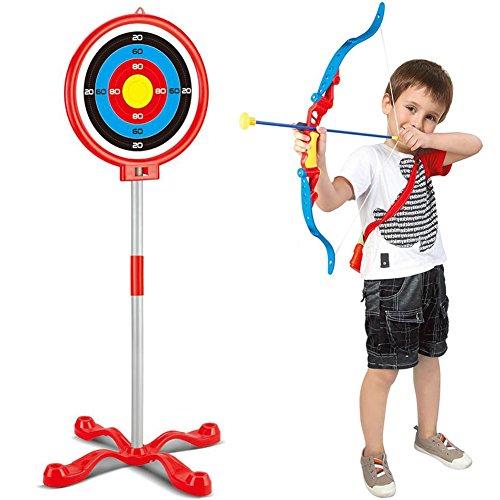 BAKAJI Set Arciere per Bambini con Arco 3 Frecce a Ventosa Mirino Arco Bersaglio con Struttura Autoportante a Piantana da 88 cm e Portafrecce a Tracolla