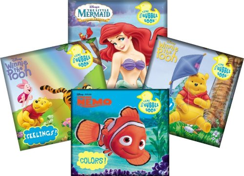 Disney Bath Time Bubble Books Featuring the Little Mermaid, Winnie the Pooh, Tigger, and Nemo (Set of 4)