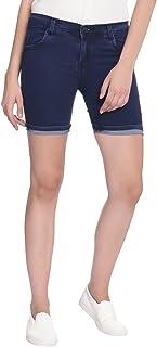 Broadstar Women Denim Dark Blue Shorts