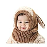 SUCES Baby Mütze Schal Jungen Strickmütze Mädchen Hüte Süß Mützen Halstücher Winter Kinder Warm Fleece Schalmütze (Khaki,one size)
