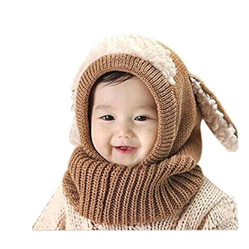 SUCES Baby Mütze Schal Jungen Strickmütze Mädchen Hüte Süß Mützen Halstücher Winter Kinder Warm Fleece Schalmütze (Khaki,one size)