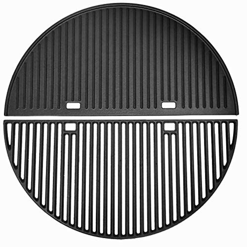 WINTRON 24-in Half Moon Cast Iron Cooking Grate Reversible Grill Griddle Combo for Kamado Joe Big Joe, Pro Joe, Weber Summit E6/S6 & Other 24-in Kamado Charcoal Grills