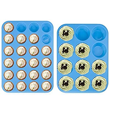 (12 & 24 Cup Sizes) -Non Stick, BPA Free Bakeware Silicone Muffin & Cupcake Mold Baking Pan Set -Top Home Kitchen Trays & Molds - Dishwasher Safe (Blue-2 pack)